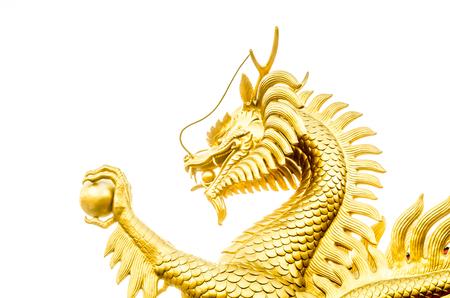 Glaçage de dragon d'or sur fond blanc (dragon, chinois) Banque d'images - 84596539