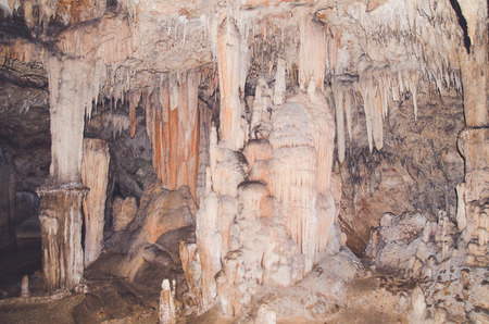 Stalactites in a cave in trang province thailand