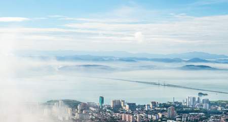 view point Panorama of Penang ( Georgetown ) in Malaysia seen from Penang Hill  免版税图像