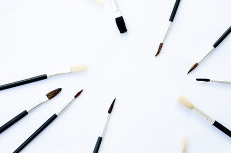 Set of brushes for painting, isolated on white Stok Fotoğraf