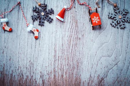 Christmas background decoration on  wooden board Stok Fotoğraf