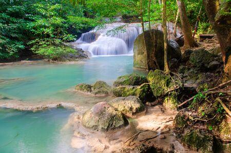 深い森の滝 , タイ 写真素材