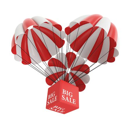 Big sale parachute on White Background