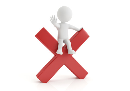 disallow: 3d small person with big negative symbol in hands. 3d image. White background. Stock Photo