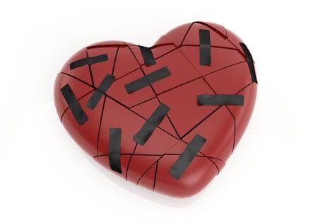 Broken red heart with plaster isolated on white background Reklamní fotografie