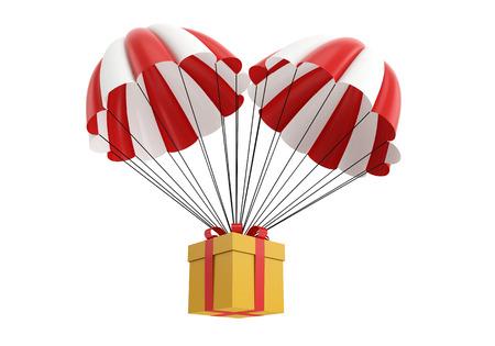 Parachute with a gift box. 3d illustration on white background Reklamní fotografie