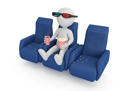 Human wearing 3D glasses and eating popcorn, 3d image