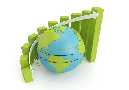 Green earth globe with Grow bar chart on arrow around 3d image