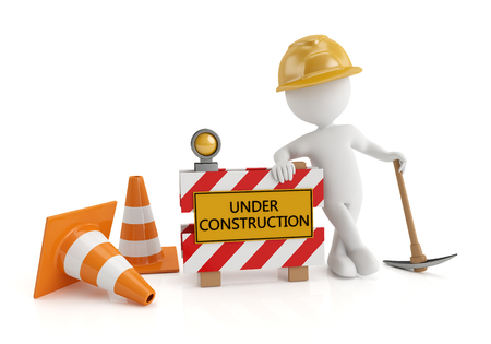 under construction sign with man: 3d white people under construction, isolated white background, 3d image