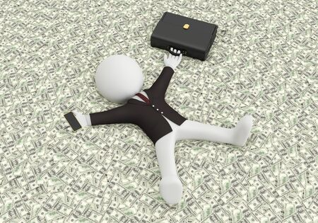 3d white people lying on the money, 3d image Reklamní fotografie - 47866246