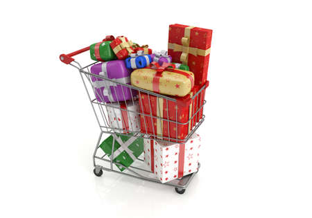 Isolated shopping cart with lots of gifts.3d image Reklamní fotografie - 48870230