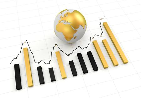 golden globe: Rising chart with golden globe 3d render, white background