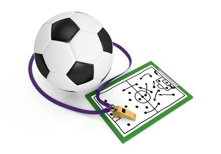 official record: A football and a whistle - 3d render illustration