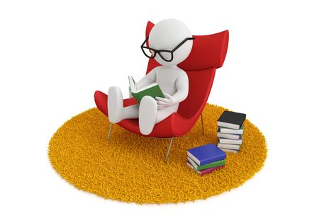 3d white people reads a book in chair, isolated white background, 3d image Reklamní fotografie - 49974344