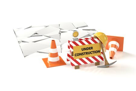 Under construction concept 3D image on white backqround. 3D illustration