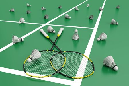 Badminton rackets with shuttlecocks. Black rackets with yellow stripes on the green floor in a badminton court. 3d illustration