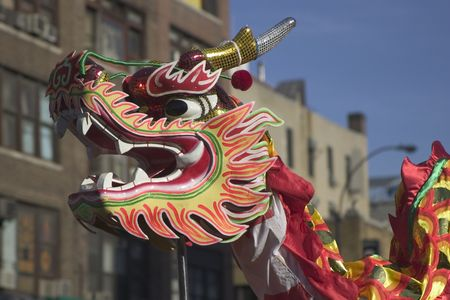 chinese new year dragon: Chinese Dragon in Streets of New York Stock Photo