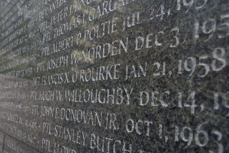 names: memorial closeup with names of deceased engraved
