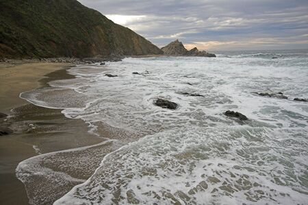 rolling up: Waves rolling up on sandy beach at point reyes national seashore california