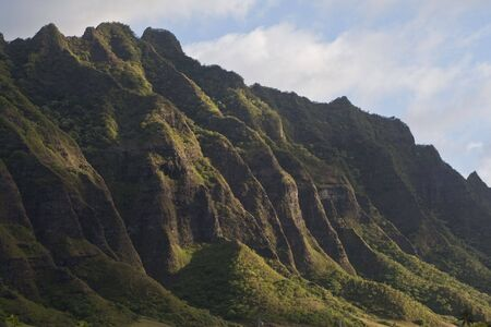 Mountain ridge on northeast side of Oahu, Hawaii Stock Photo
