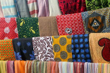 zanzibar: Kleurrijk Afrikaanse Fabric, Markt Zanzibar, Tanzania
