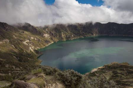 caldera: View of Quilotoa crater, Ecuadorian Andes