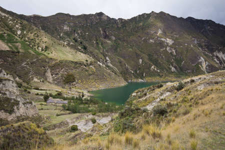 crater lake: Quilotoa crater lake and paramo vegetation, Andes, Ecuador