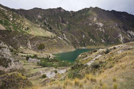 Quilotoa crater lake and paramo vegetation, Andes, Ecuador