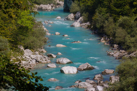 Clean turquoise water of Soca river in Slovenian Alps