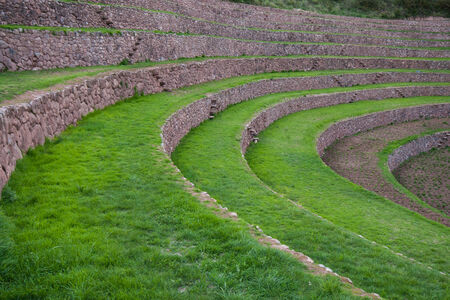 sacred valley of the incas: Green terraces at Moray, near Maras, Sacred Valley of Incas, Peruvian Andes Stock Photo