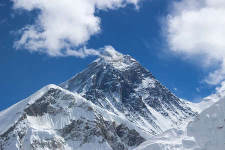 Photograph of Mount Everest, the highest mountain in the world, Sagarmatha