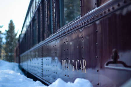 Classic train in the snow in winter, dining car
