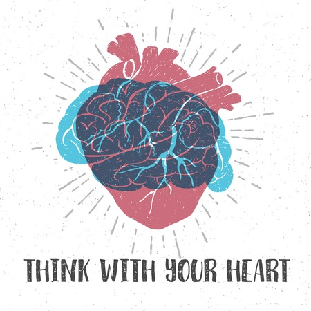 brain illustration: Hand drawn textured romantic poster with red human heart, blue brain, and inspiring lettering vector illustrations.