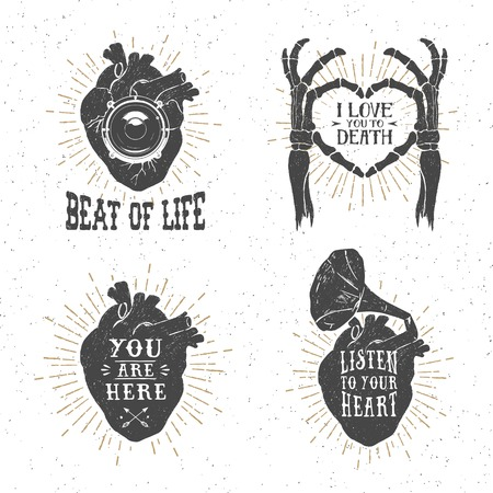Hand drawn textured romantic posters with human heart, skeleton hands, gramophone horn, stereo speaker, and lettering vector illustrations on the white background.