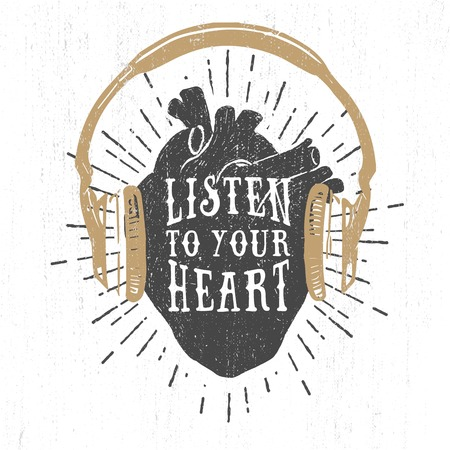 human hand: Hand drawn textured romantic poster with black human heart, headphones, and inspiring lettering vector illustrations on the white background. Illustration