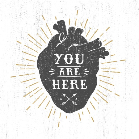 Hand drawn textured romantic poster with black human heart and inspiring lettering vector illustrations on the white background. Stock Illustratie