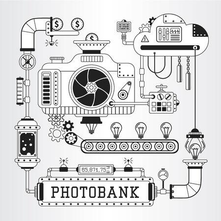 microstock: Steampunk vector illustration of microstock, photobank process of work. Illustration
