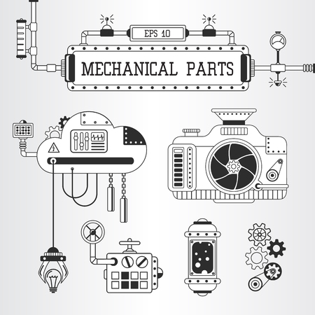Vector illustration of steampunk mechanical parts: photo camera, pipes, cogwheels. Illustration