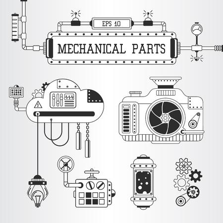 tumbler: Vector illustration of steampunk mechanical parts: photo camera, pipes, cogwheels. Illustration