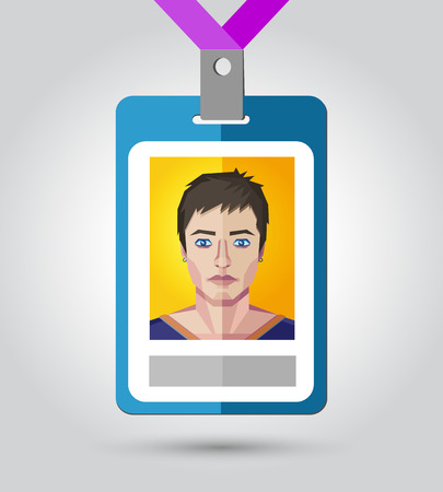 name badge: Vector illustration of a name badge for event with a human face in polygonal style.