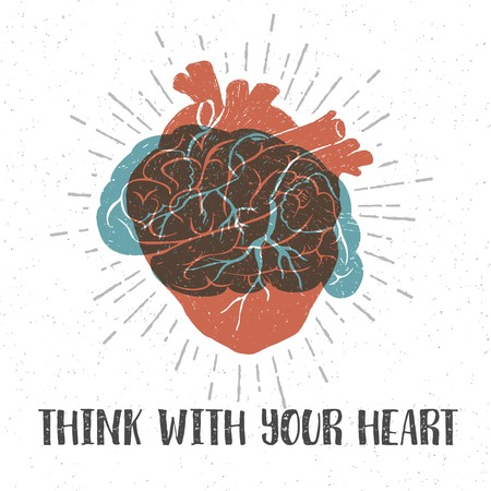 blue brain: Hand drawn textured romantic poster with orange human heart, blue brain, and inspiring lettering vector illustrations.