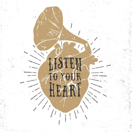 grunge heart: Hand drawn textured romantic poster with golden human heart and gramophone horn, and inspiring lettering vector illustrations.