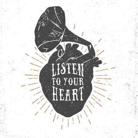 Hand getrokken getextureerde romantische poster met menselijk hart en grammofoon hoorn, en inspirerende belettering vectorillustraties op witte achtergrond.