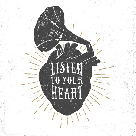 Hand drawn textured romantic poster with human heart and gramophone horn, and inspiring lettering vector illustrations on white background.