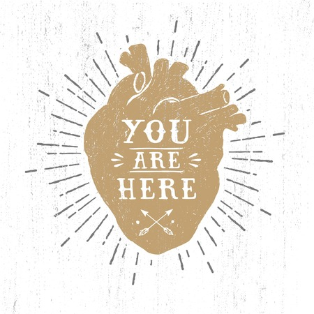Hand drawn textured romantic poster with golden human heart and inspiring lettering vector illustrations on the white background. Illustration