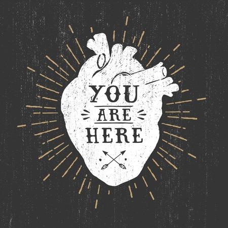 Hand drawn texturé affiche romantique avec coeur et vecteur lettrage illustrations humaines sur le fond noir. Vecteurs