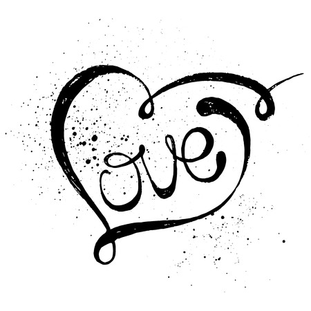 Hand drawn black lettering print. Love in a heart.