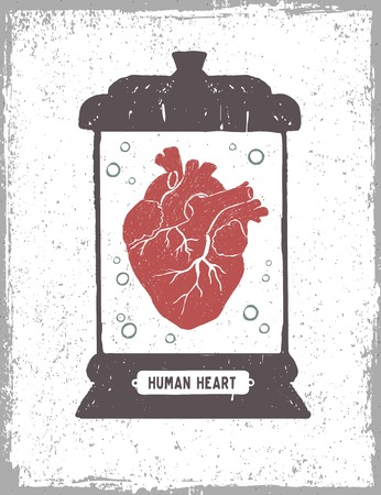 Hand drawn textured poster with human heart in a medical jar vector illustrations.