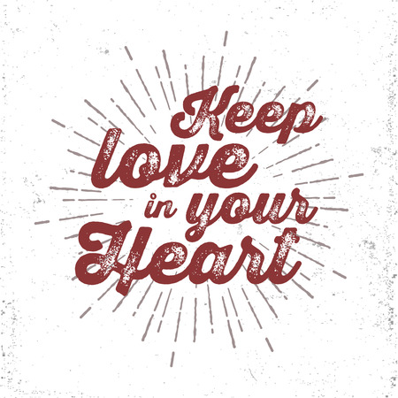 keep in: Hand drawn romantic lettering. Keep love in your heart