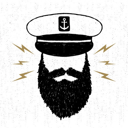 Hand drawn textured vintage icon with captain vector illustration.